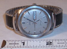 OMEGA SEAMASTER MEN'S AUTOMATIC WRISTWATCH STAINLESS STEEL WITH DAY & DATE 1960s