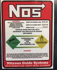 NOS Nitrous Oxide 15lb Bottle Label Decal Super High BEST Quality Decal/Sticker