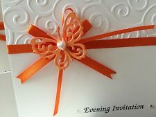 10 x Handmade Tattered Lace Butterfly Wedding Invitations