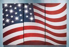 NEW LED Lighted American Flag 3 piece Wall Canvas Set