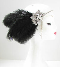 Black & Silver Feather Headpiece Vintage 1920s Flapper Headband Great Gatsby Y31