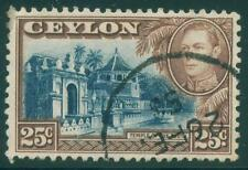 [JSC]1938 CEYLON Sc284 SG392 25c KGVI Temple of the Tooth