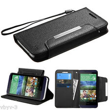 BLACK Book Wallet Flip Leather Pouch Phone Cover Case Strap For HTC Desire 512