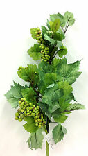 "Silk Grape Leaf Ivy Spray Stem w/Grapes. Green. 24"" Tall."