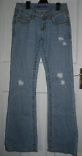 PINK WOMENS Light Blue Cotton Distressed Flare Jeans Size:W-30 L-34 BNWOT