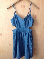 Abercrombie & Fitch Blue Denim Dress Cut Out Waist Summer Sundress Size Small 8