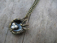 Bronze bird nest pendant Lariat Necklace,bird's nest pearl egg necklack Hb80