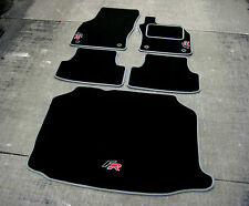 Black/Grey Car Mats to fit Seat Leon FR RHD (5F / 2012 on) + FR Logos + Boot Mat