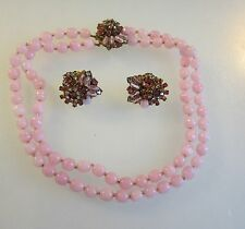 MIRIAM HASKELL EXQUISITE PINK CRYSTAL NECKLACE & EARRINGS PARURE