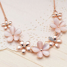 Womens Shiny Gold Plated Flower Opal Rhinestone Charm Pendant Chain Necklace