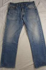 Levi 501 Button Fly Straight Leg Faded Denim Jeans Tag 38x36 Measure 34x32.5