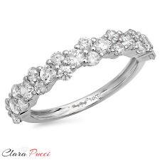 0.90 ct pave set Wedding Bridal Promise Engagement Band Ring 14k White Gold