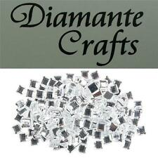 200 x 6mm Clear Diamante Square Loose Flat Back Rhinestone Craft Embellishments