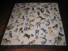 """Various Breeds of Dogs Scarf 20"""" Square Bull Dog Standard Poodle Scottie"""