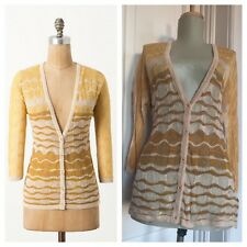 "Anthropologie sz L Charlie Robin Yellow Stripe ""Ombre Breakers Cardigan"" Sweater"