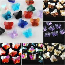15pcs MixColor Faceted Glass Crystal Butterfly  Beads Spacer Finding Charms 14mm
