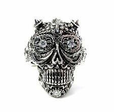 Floral Skull Silver Ring With Natural Diamonds By Sacred Angels
