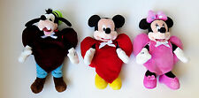 Valentine 3 Disney Beanies in Handmade Velour Heart Suits Mickey Minnie Goofy