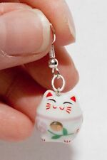 HANDMADE Pink Lucky Beckoning Cat Maneki Neko Kawaii Dangling Porcelain Earrings