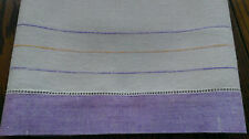VINTAGE LINEN TOWEL LAVENDER PURPLE STRIPES DRAWN THREAD HEMSTITCH