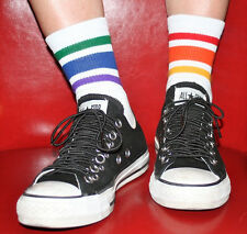 Men's Low Cut Rainbow Striped Crew Athletic Socks LCL-3