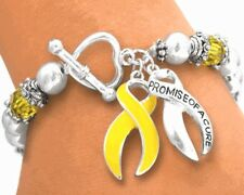 Yellow Ribbon Promise Cure Liver Cancer Awareness Stretch Toggle Bracelet New