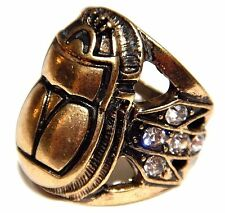 BRONZE SCARAB BEETLE RING Egyptian Revival Rhinestone crystal Gatsby Art Deco 4F