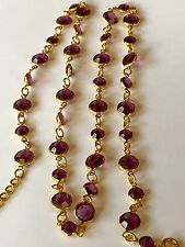 Vtg Gold Tone Bezel Mauve Purple Amethyst Swarovski Crystal Adjustable Necklace