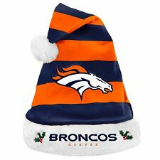 Denver Broncos Team Logo Holiday Plush Santa Hat NEW! Christmas STRIPED