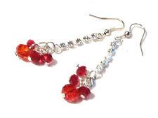 Bijou alliage argenté lucite rouge strass blanc earrings