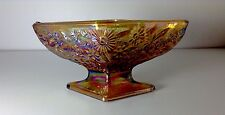 Vintage Iridescent Amber Carnival Diamond Shaped Glass Pedestal Foot Candy Dish
