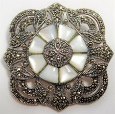 Vtg 1980s MARSALA Sterling Silver MOP Pearl Marcasite Art Deco Style Pin Brooch