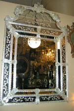 "Magnificent 48.5"" Large Venetian Murano Italy Blown Glass Mirror Etched Florals"
