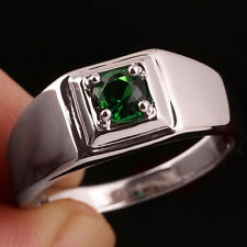 Pure Band 925 Sterling Silver Ring for Men Green Emerald for Birthday Size 10