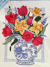 NEW Dimensions Stichables Easy Cross Stitch Kit Spring Floral Tulips Daffodils