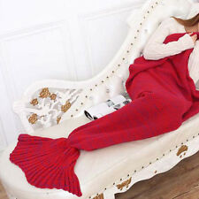 Mermaid Fish Tail Blanket Crocheted Knitted Sleeping Bag Bed Sofa for Kids Girls