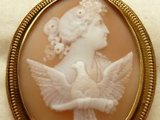 ANTIQUE VICTORIAN MUSEUM QUALITY VERY FINE CARVED SHELL CAMEO BROOCH 14CT FRAME