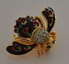 JOAN RIVERS - RETIRED - CHERRY ENAMEL BEE PIN BROOCH  - MINT CONDITION