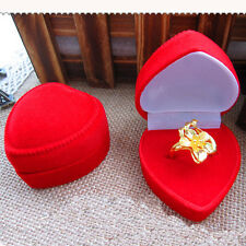 Trendy Velvet Cover Red Heart Shaped Jewelry Box Ring Show Display Storage Gift