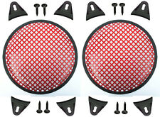 """2X Red 8"""" inch Sub Woofer Speaker Mesh WAFFLE GRILLS Protective Covers VWLTW"""