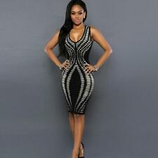 Sexy Women Dress Bandage Cocktail Sleeveless Bodycon Evening Party Dresses BK Y1