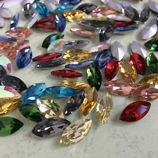 5*10mm Navette Point back Rhinestones Crystal Glass Beads Stones Chaton 200ps UK