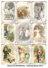 Transparente Folie für Windlichter*Shabby Chic*Landhaus**1 Bogen A4*Weihnachten*