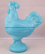Portieux Vallerysthal PV France Blue Opaline Rooster Dish w/Partial Label - 9""