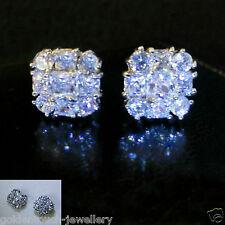 Men's square 10mm simulated diamond 18k white gold filled stud earrings /UK