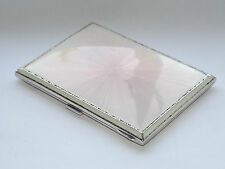 Art deco solid sterling silver & rose guilloché émail cigarette case b/jambon 1938