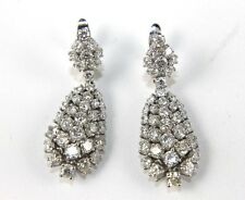 Fine Round Cluster Diamond Lady's Drop Fashion Earrings 14K White Gold 5.53Ct