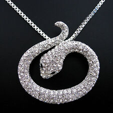 Full Crystal White Snake Use Swarovski Crystal Necklace