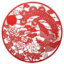 Papier découpé chinois, motif pivoine et phénix, décoration asiatique
