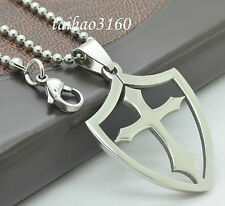 "Silver Stainless Steel Knight Shield Cross Pendant 23.6"" Chain Necklace Gift 65E"